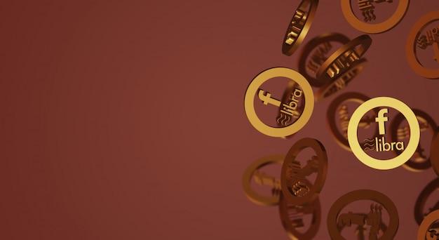 天秤座facebookの3dレンダリング暗号通貨コンテンツ。 Premium写真