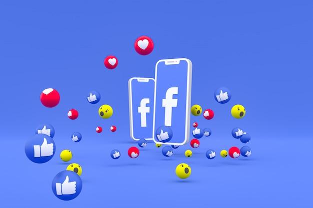 Значок facebook на экране смартфона и реакции facebook любовь, вау, как смайликов 3d визуализации Premium Фотографии