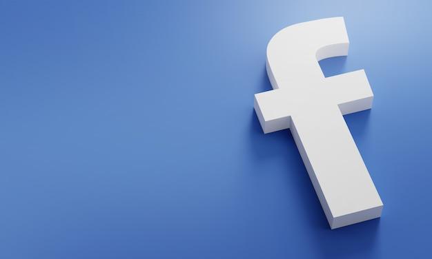 Facebook logo minimal simple design template. copy space 3d Premium Photo