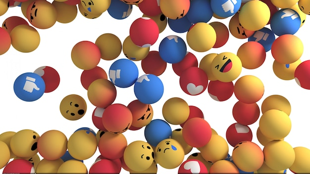 Facebook reactions emoji 3d render Premium写真