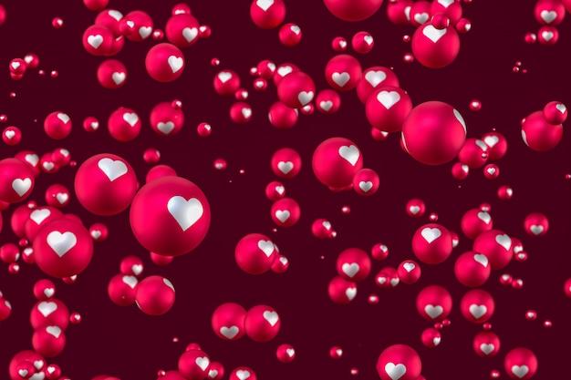 Facebook реакция сердца смайликов 3d визуализации на красном фоне, символ социальных медиа шар с сердцем Premium Фотографии