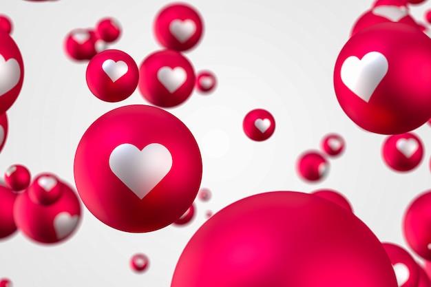Facebook reactions heart emoji 3d render premium photo,social media balloon symbol with heart,happy valentines day card Premium Photo
