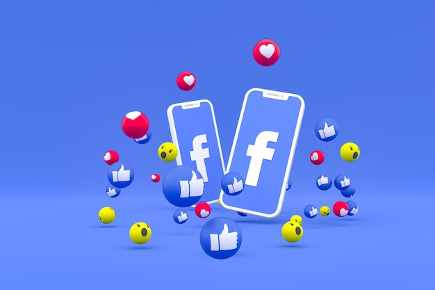 Символ facebook на экране смартфона или мобильного телефона и реакции facebook любовь, вау, как смайликов 3d визуализации Premium Фотографии