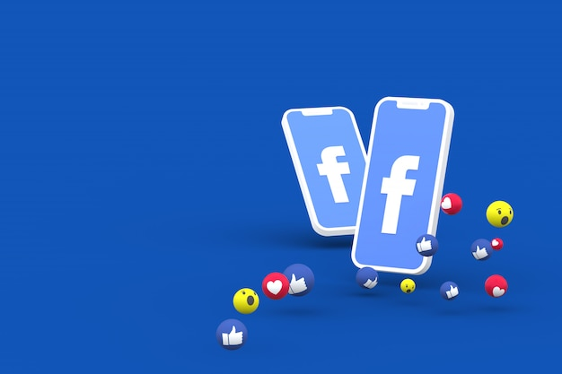 Facebook symbol on screen smartphone or mobile and facebook reactions love,wow,like emoji 3d render Premium Photo