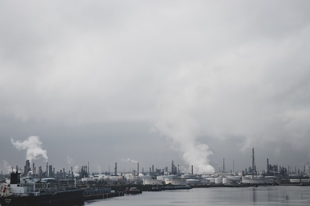 Factories causing pollution by water Premium Photo