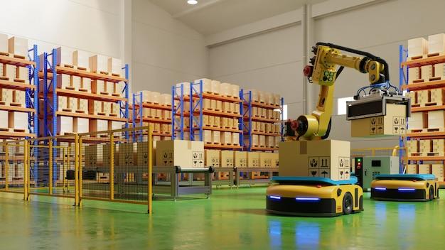 安全で輸送を増やすための輸送におけるagvおよびロボットアームを備えたファクトリオートメーション。 Premium写真