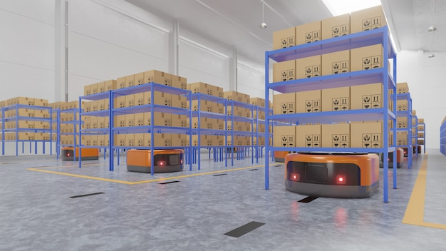 輸送中のagvとロボットアームを使用したファクトリーオートメーションにより、安全で輸送を増やすことができます。 Premium写真