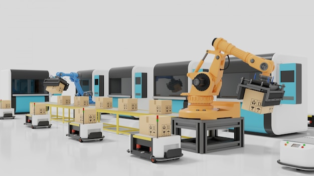 Factory automation with agvs, 3d printers and robotic arm Premium Photo