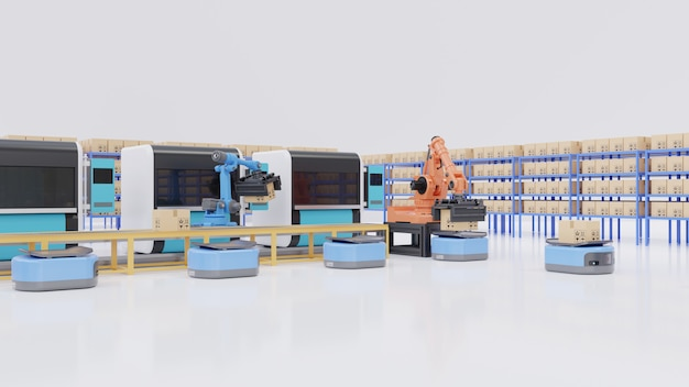 Factory automation with agvs, 3d printers and robotic arm. Premium Photo