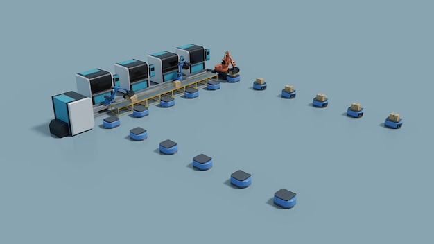 Factory automation with automated guided vehicle and robotic arm. Premium Photo
