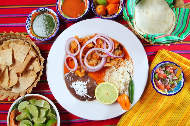 Fajitas mexican food with rice frijoles chili sauce Premium Photo
