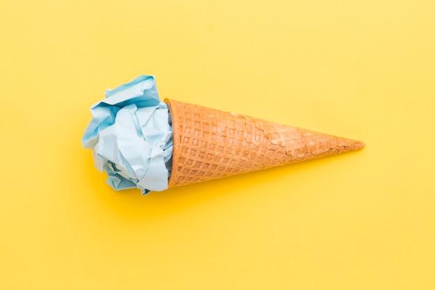 Fake blue ice cream in sugar cone Free Photo