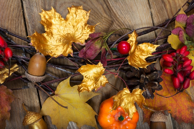 黄金とカラフルなカエデの葉と秋の背景 Premium写真