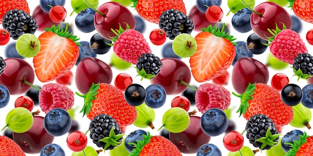 Falling berries seamless pattern isolated on white Premium Photo