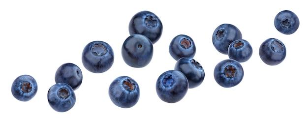 Falling blueberry isolated on white background Premium Photo