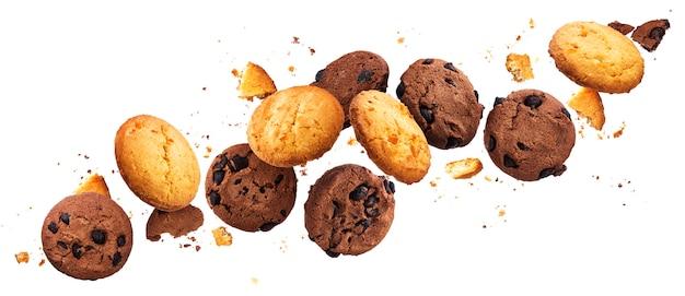 Falling broken chip cookies Premium Photo