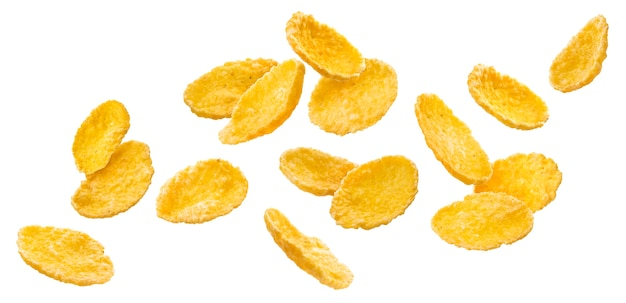 Falling corn flakes isolated on white surface with clipping path Premium Photo