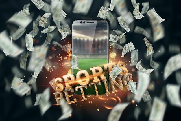 オンラインで賭けをする碑文のあるドルとスマートフォン。創造的な背景、ギャンブル。 Premium写真