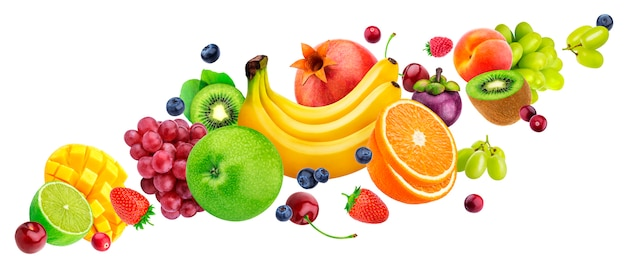 Falling Fruit Salad Isolated On White Background With Clipping