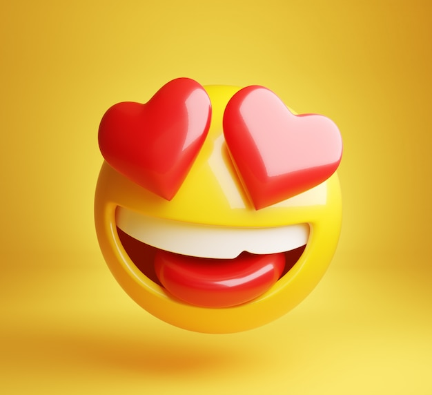 Falling in love emoji 3d Premium Photo
