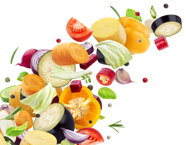 Falling mix of different vegetables Free Photo