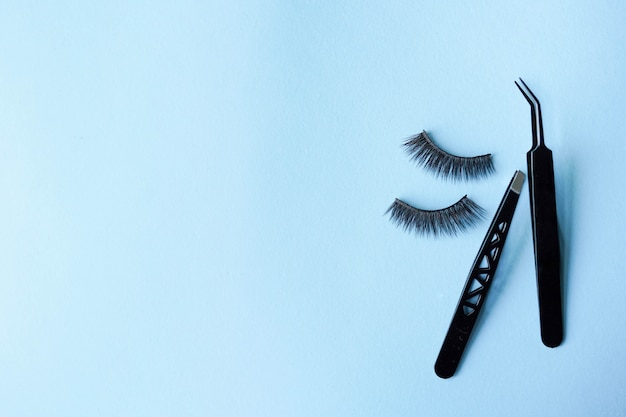 False eye lashes with two black tweezers on blue background with copy space Premium Photo