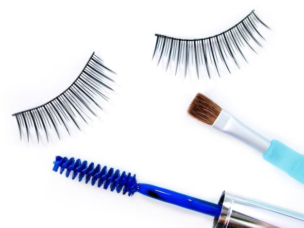 False eyelash mascara and make up brush Premium Photo