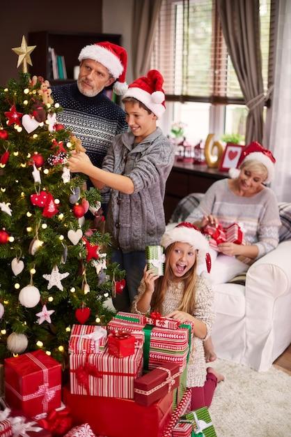 Семья занята в своем домашнем интерьере Бесплатные Фотографии