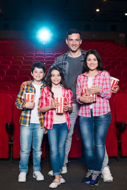 Family of different generations in cinema Free Photo