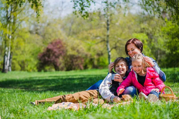 Family enjoying a day in the park Free Photo