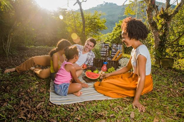 Семья, имеющая пикник на закате Бесплатные Фотографии