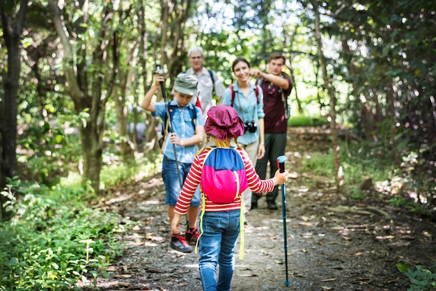 Family hiking in the forest Premium Photo
