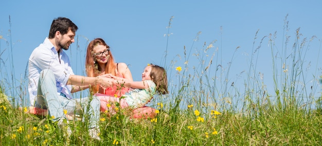 Family holding hands in summer in the grass Premium Photo
