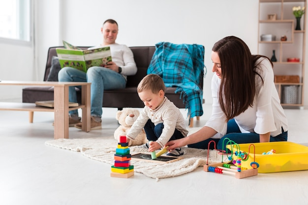 Family at home in the living room Free Photo