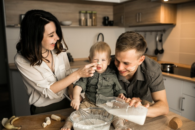 Family in the kitchen Free Photo