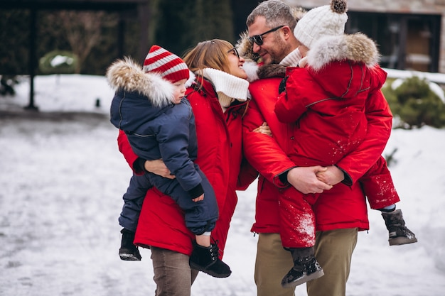 Family outside in winter Free Photo