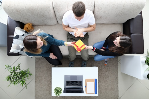 Family on sofa top view Premium Photo
