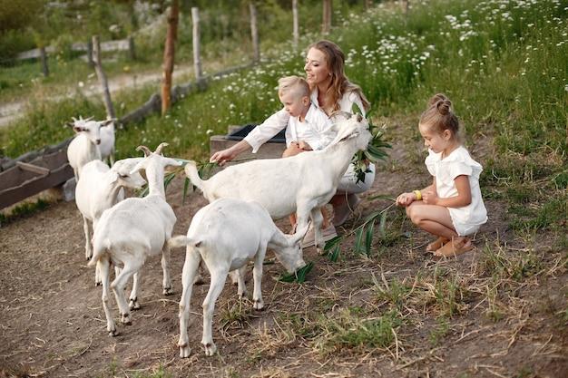 La famiglia trascorre il tempo in vacanza nel villaggio. ragazzo e ragazza che giocano in natura. le persone camminano all'aria aperta. Foto Gratuite