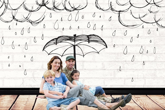 Family with a drawing of rain over them Free Photo