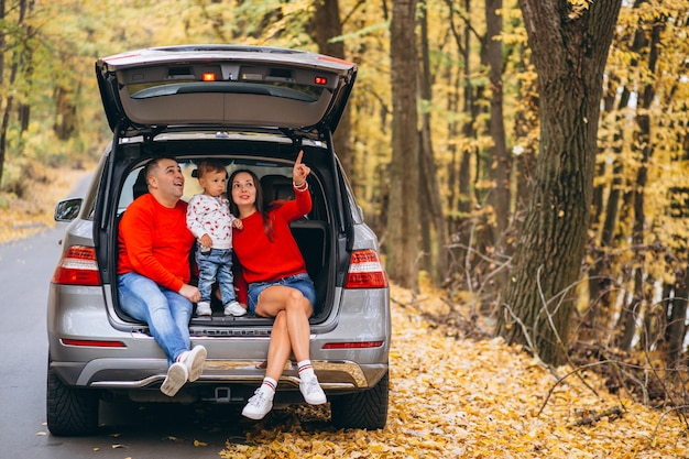 Family with a little son in autumn park sitting in car Free Photo