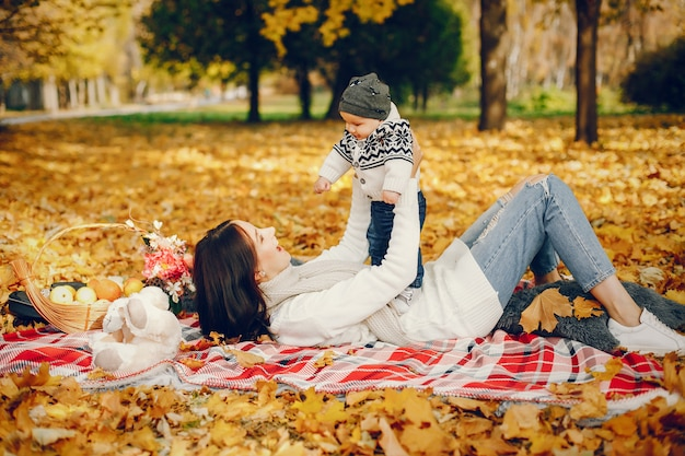 Family with little son in a autumn park Free Photo