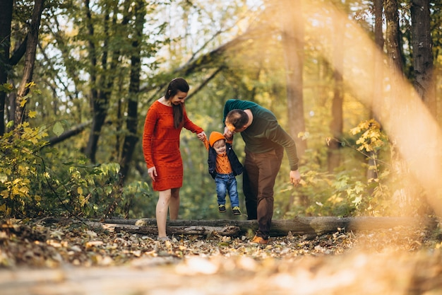 Family with a little son in autumn park Free Photo