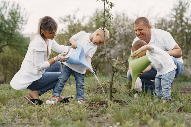 Family with with little sons are planting a tree on a yard Free Photo
