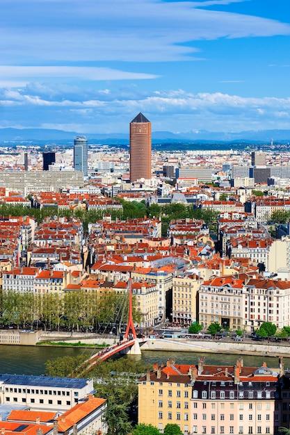 Famosa veduta aerea della città di lione, francia Foto Gratuite