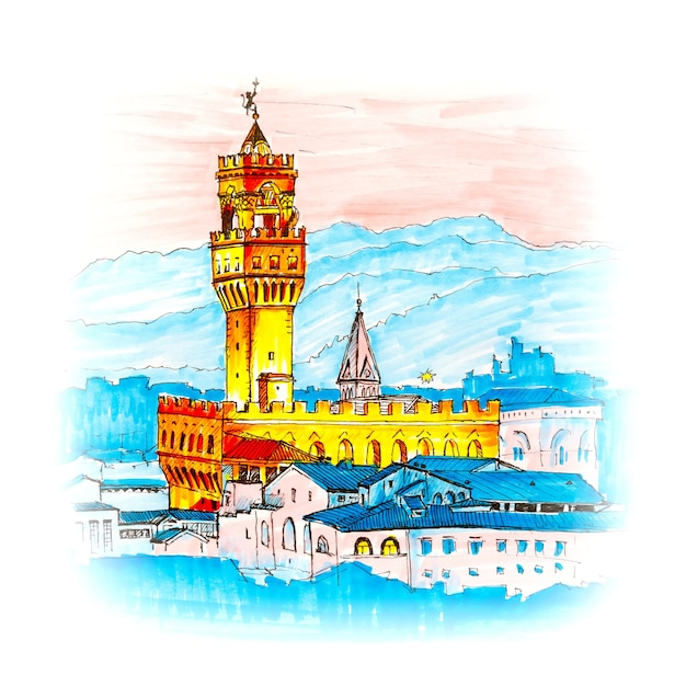 Знаменитая башня арнольфо палаццо веккьо на пьяцца делла синьория на закате с пьяццале микеланджело во флоренции, тоскана, италия. рисунок сделал лайнер и маркеры Premium Фотографии