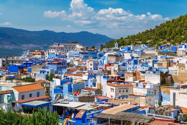 The famous blue city of chefchaouen, top view. Premium Photo