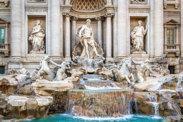 The famous fountain of the trevi in rome, executed in the baroque style. Premium Photo