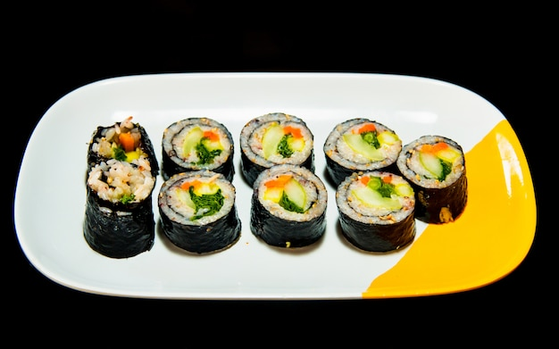 Famous korean handmade food kimbap, rolling rice Premium Photo