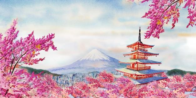Famous landmarks of japan in spring. Premium Photo