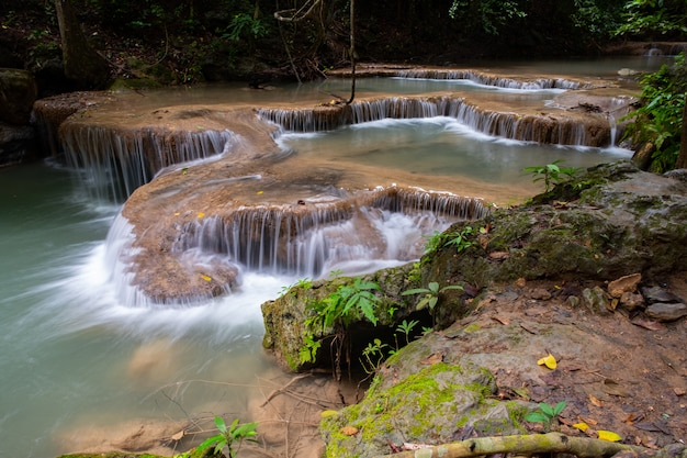 Famous place in thailand (arawan water fall) Premium Photo
